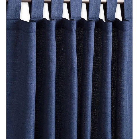 Outdoor Woven Grasscloth Single Curtain Panel With Tab Top Navy