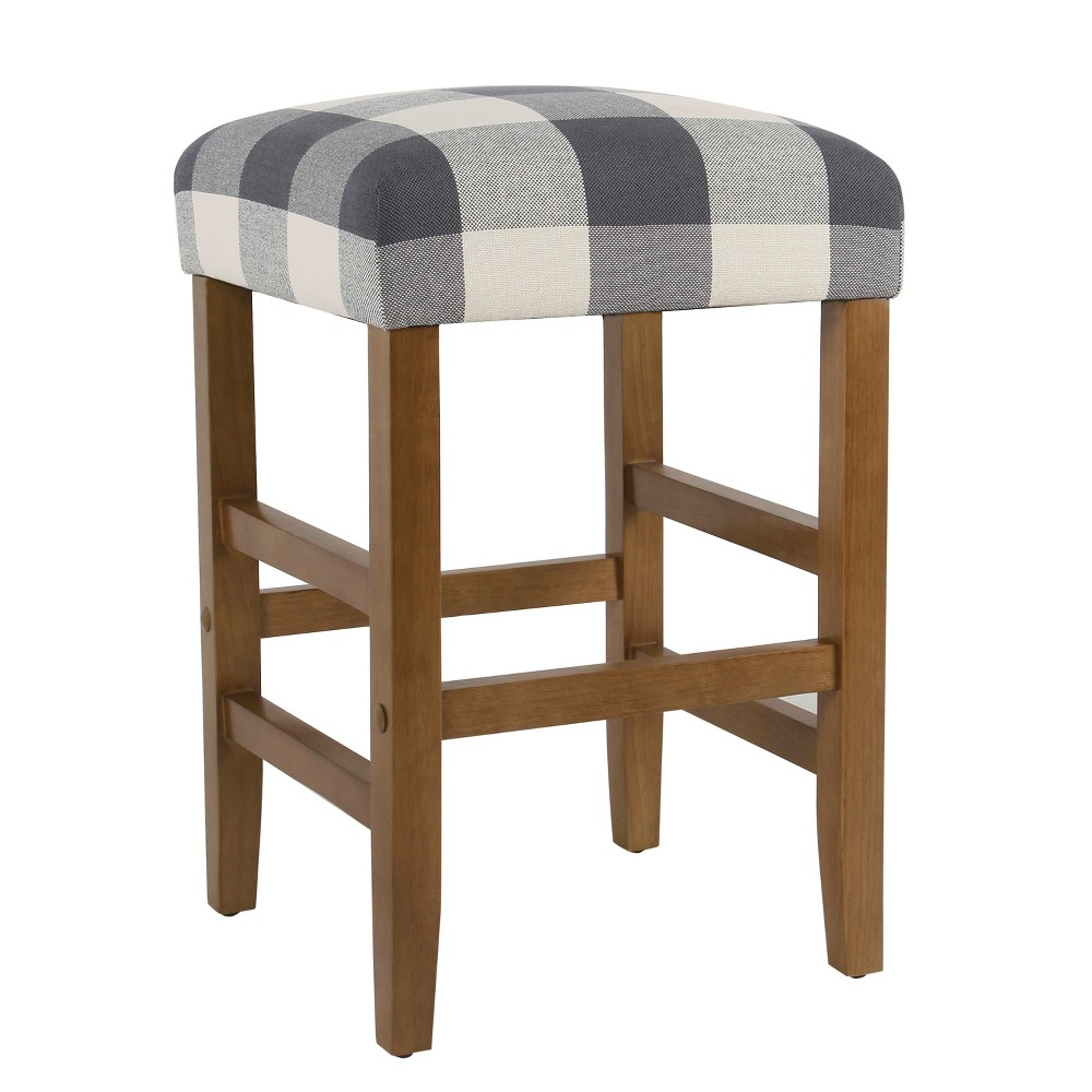 Image of Square Counter Stool Blue Plaid - Homepop