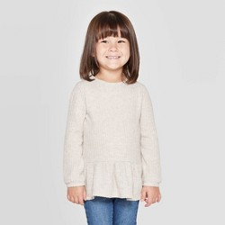 Toddler Girls' Cozy Waffle Knit Henley T-Shirt - Cat & Jack™ Beige