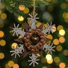 """Northlight 6"""" Brown and White Wooden Snowflake Christmas Ornament - image 2 of 4"""