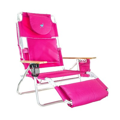 Ostrich Deluxe Padded 3-N-1 Outdoor Lounge Reclining Beach Lake Chair, Pink
