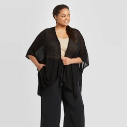 Women's Light Weight Open Knit Ruana - A New Day™ Black