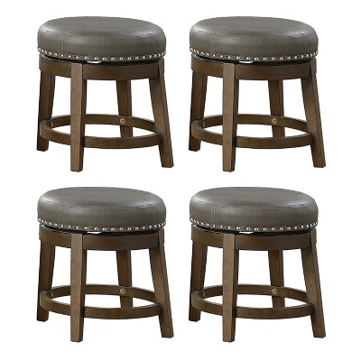 Lexicon Whitby 18 Inch Dining Height Round Swivel Seat Bar Stool, Gray (4 Pack)