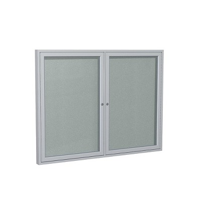 Ghent 2 Door Enclosed Vinyl Bulletin Board with Satin Frame 3'H x 4'W Silver PA23648VX193