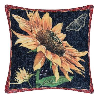 "C&F Home 18"" x 18"" Sunflower & Butterfly Indoor/Outdoor Pillow"