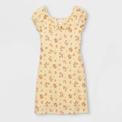 Girls' Woven Bunny Tie Short Sleeve Dress - art class™