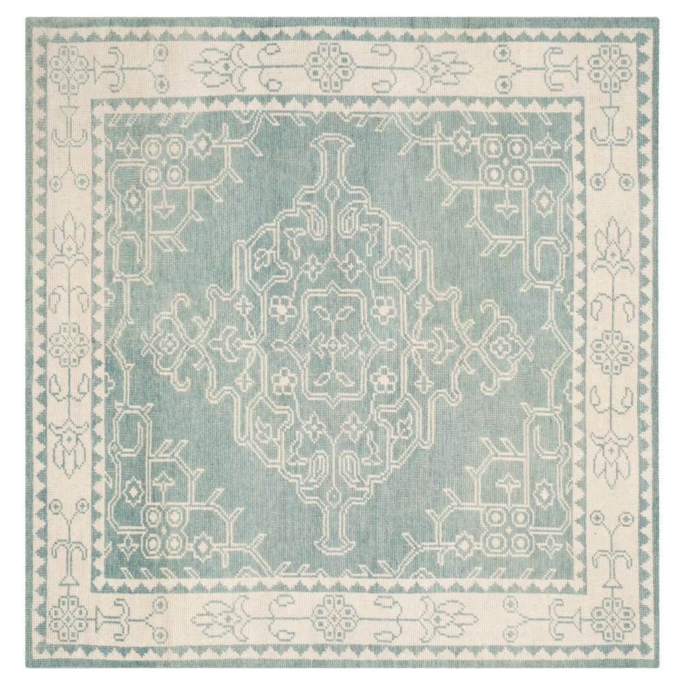 Ivory/Blue Botanical Knotted Square Area Rug - (7'X7') - Safavieh
