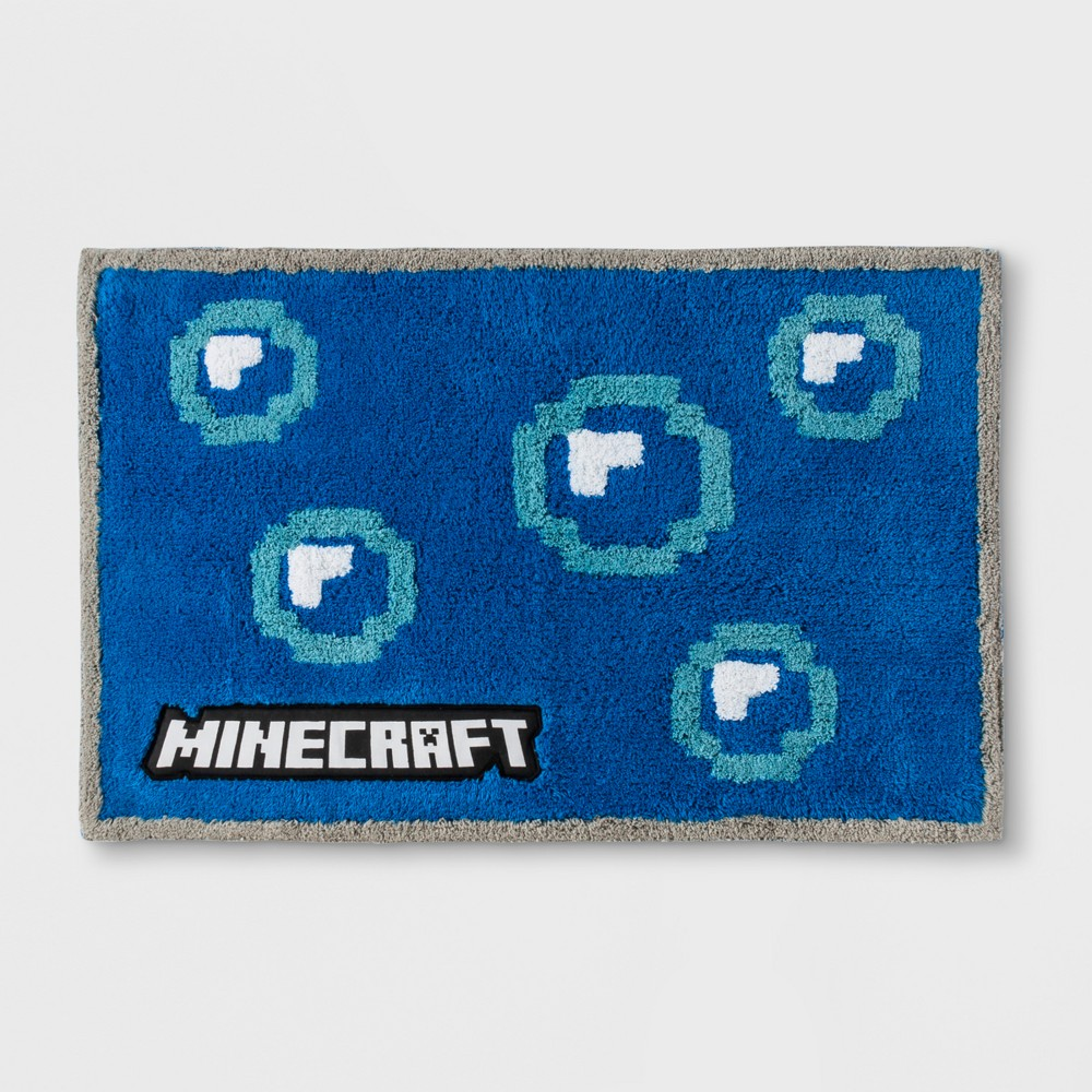 Image of Minecraft Bath Rug Blue, Bath Rugs and Mats