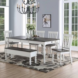 6pc Joanna Two Tone Dining Set Ivory/Charcoal - Steve Silver