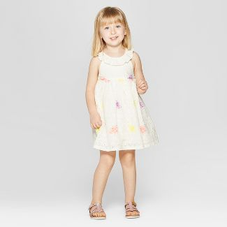 Toddler Girls' Eyelet Embroidered A-Line Dress - Cat & Jack™ White 4T