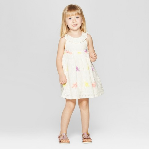 7b293ee6bb4 Toddler Girls  Eyelet Embroidered A-Line Dress - Cat   Jack™ White   Target