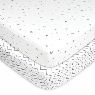 TL Care 100% Fitted Cotton Crib Sheet Star Cheveron - 2 Pack