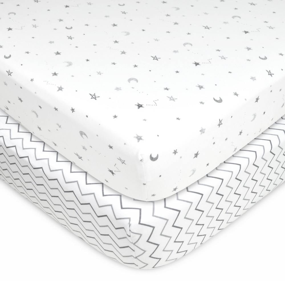 Tl Care 100 Fitted Cotton Crib Sheet Star Cheveron 2 Pack