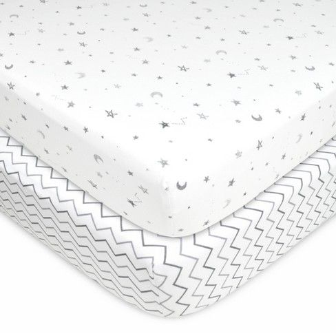 TL Care 100% Fitted Cotton Crib Sheet Star Cheveron - 2 Pack - image 1 of 2