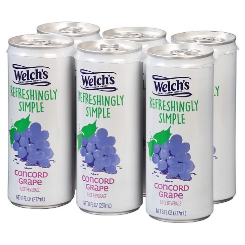 Welch's Refreshingly Simple Juice Cocktail Concord Grape Juice - 6pk/8 fl oz Cans - image 1 of 1