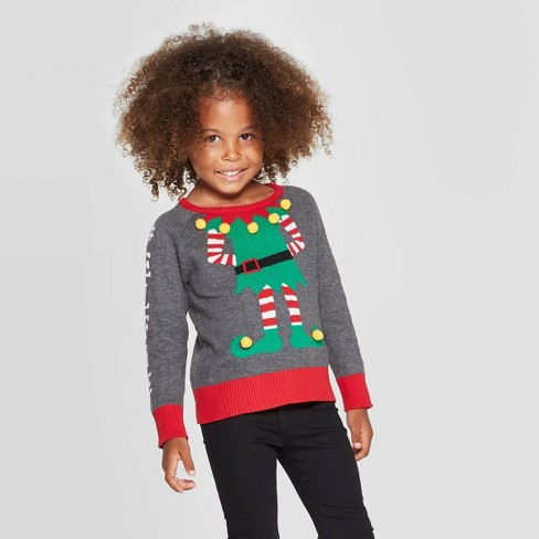 Well Worn Toddler Girls' Elfie Holiday Sweater - Gray - image 1 of 3