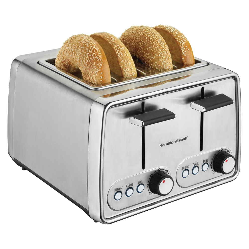 Hamilton Beach 4-Slice Toaster - Chrome- 24791, Grey Hamilton Beach Toasters are must-have additions to your lively kitchen. You can toast bagels, English muffins and other breads evenly every time, and many models offer a bagel setting that toasts the cut side and warms the round side. The toast boost feature on Hamilton Beach Toasters makes small slices easy to reach, and cleanup is easy, thanks to a slide-out crumb tray. Choose from a large variety of styles in two slots or four, and find the Hamilton Beach Toaster that's just right for you Size: 4 Slice. Color: Chrome.