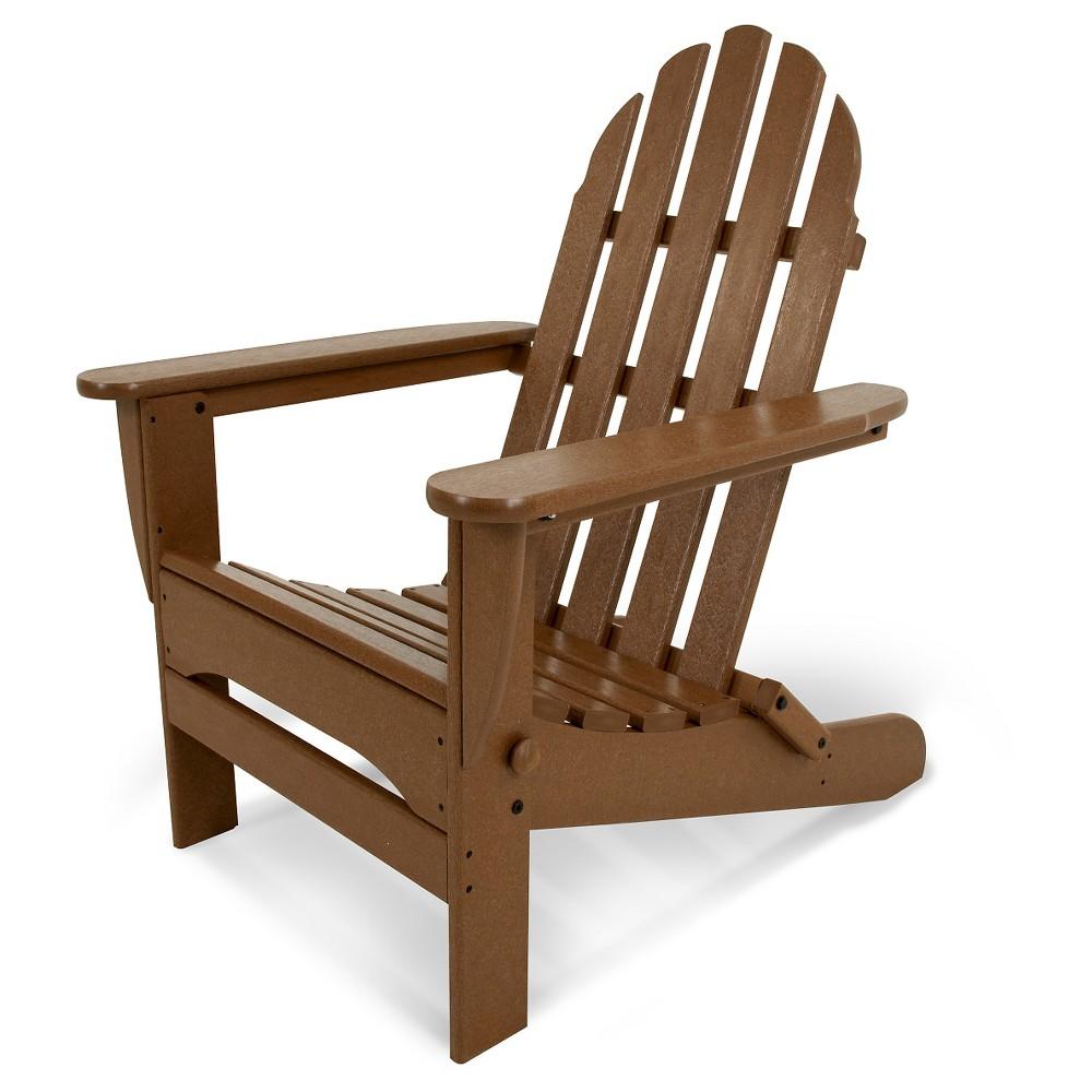 Image of POLYWOOD Classic Folding Patio Adirondack Chair - Brown