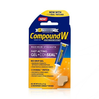 Compound W Maximum Strength Fast Acting Gel Wart Remover + ConSeal Patches - 0.25oz/12ct