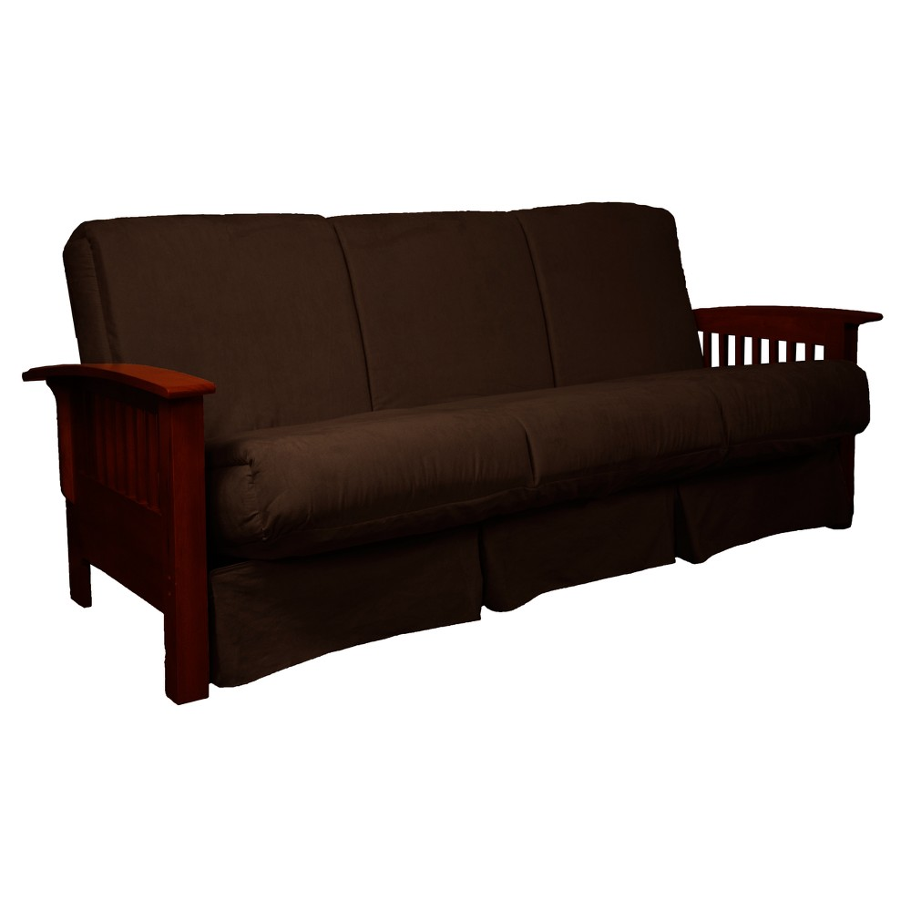 Craftsman Perfect Futon Sofa Sleeper Mahogany Wood Finish Chocolate Brown - Epic Furnishings