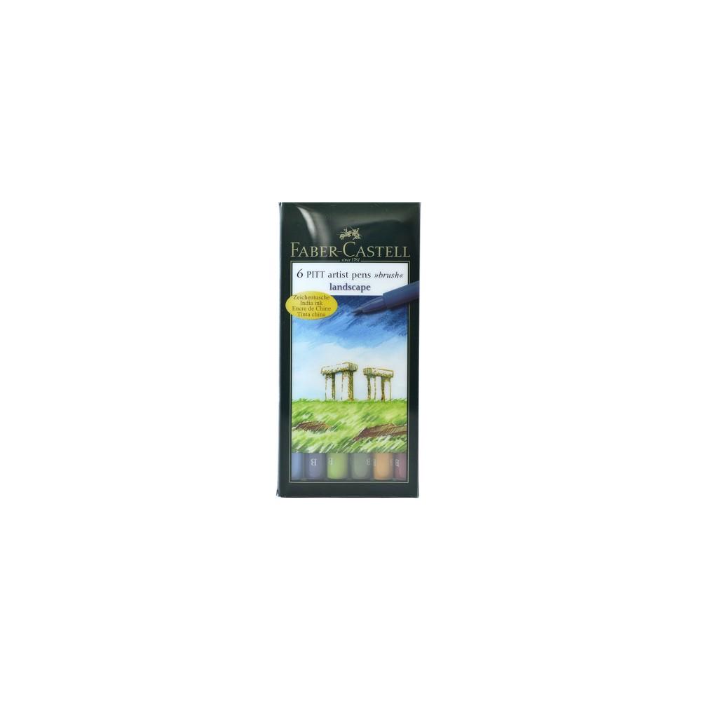 Image of Pitt Artist Brush Pen Set 6ct Faber-Castell -Landscape