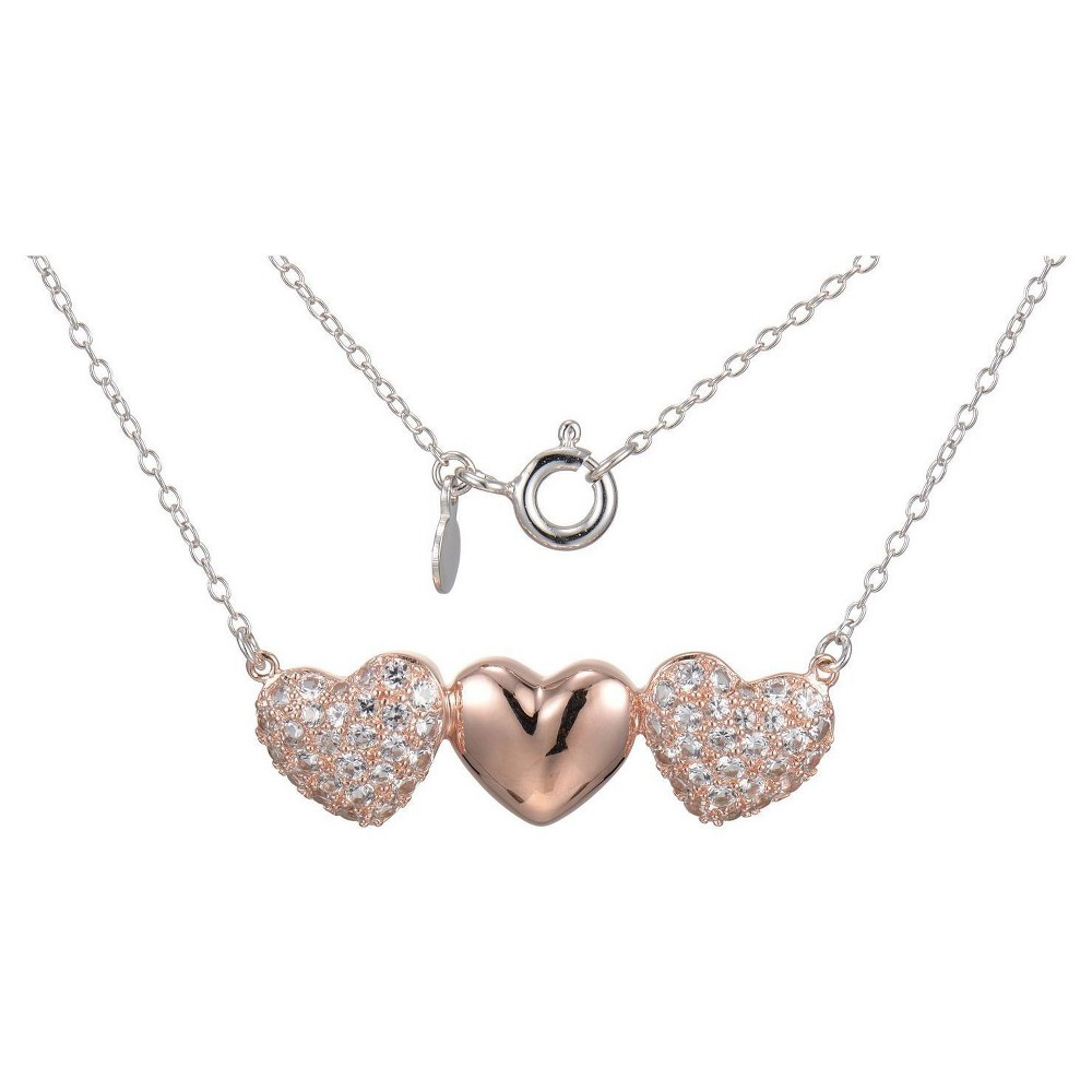 "Image of ""14k Rose Gold Plated Sterling Silver Lab Created White Sapphire 3 Heart Necklace with 18"""" Chain, Women's, Size: Small, Pink Clear"""
