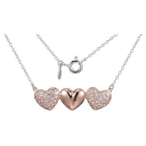 "14k Rose Gold Plated Sterling Silver Lab Created White Sapphire 3 Heart Necklace with 18"" Chain - image 1 of 1"