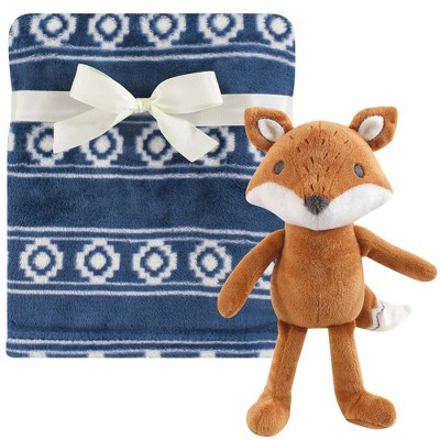 Hudson Baby Unisex Baby Plush Blanket with Toy Modern Fox