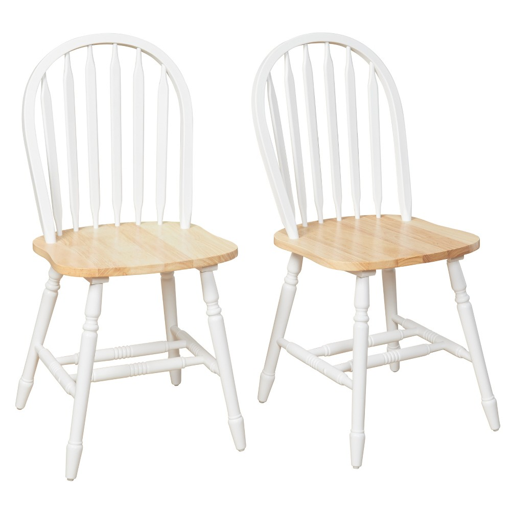 Set of 2 Carolina Windsor Dining Chairs White/Natural - Buylateral