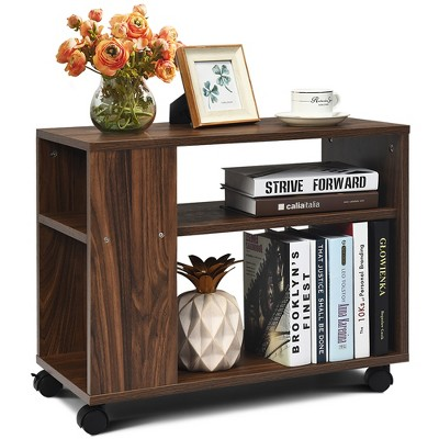 Costway 3-tier Side Table W/Storage Shelf W/Wheels Space-saving Industrial Nightstand