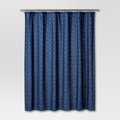 Geometric Print Shower Curtain Navy