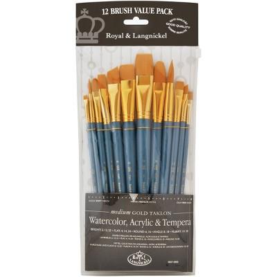 Gold Taklon Flat Value Pack Brush Set-12/Pkg