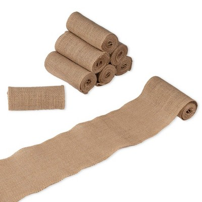 Genie Crafts 8-Pack Brown Burlap Jute Fabric Ribbon Roll 4.7 in x 2 Yard for Crafts, Sewing