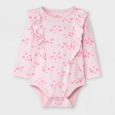 Baby Girls' Heart Long Sleeve Bodysuit - Cat & Jack™ Pink Newborn