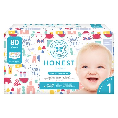 Honest Company Disposable Diapers, Shore Thing - Size 1 (80ct)