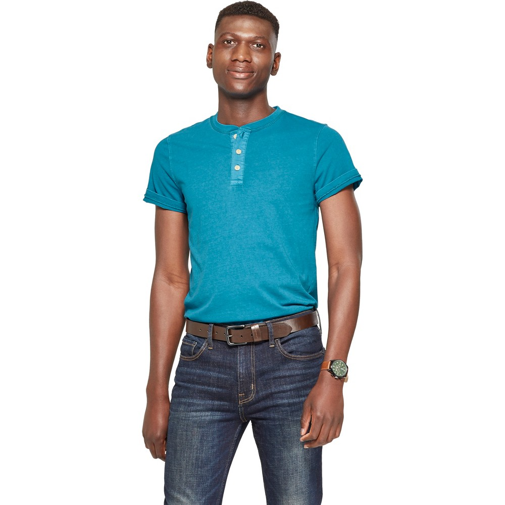 Men's Standard Fit Short Sleeve Henley - Goodfellow & Co Underseas Teal S