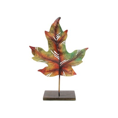 """Roman 14"""" Green and Brown Autumn Maple Leaf Votive Candle Holder"""