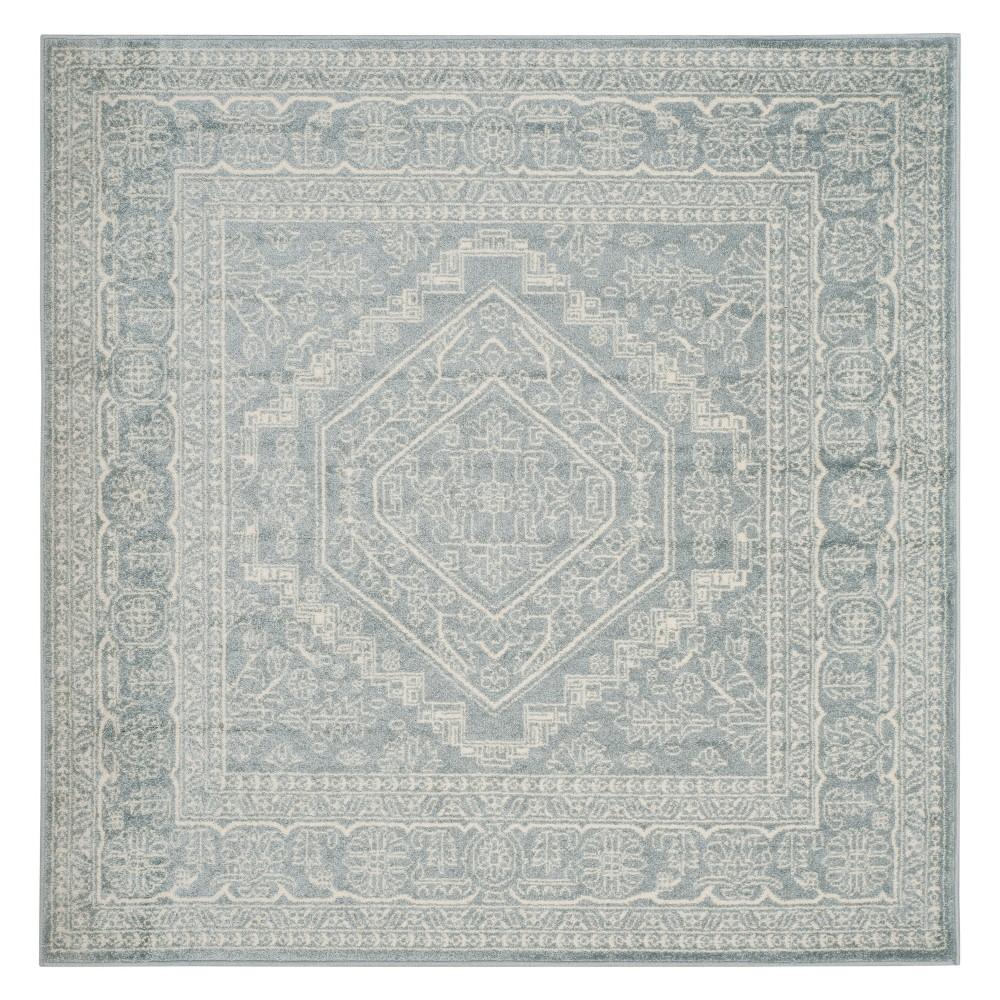 Medallion Square Area Rug Slate/Ivory