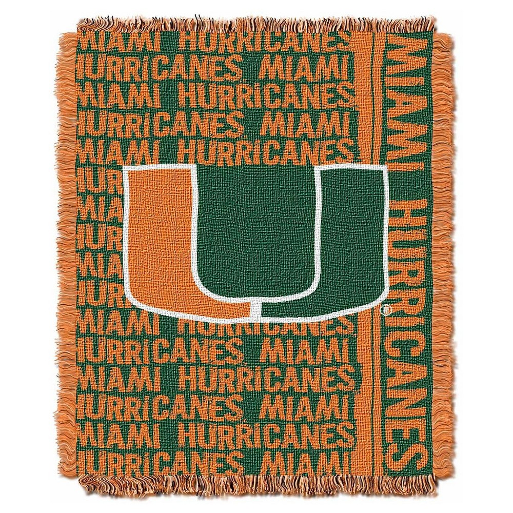 NCAA Miami Hurricanes Triple Woven Throw 48