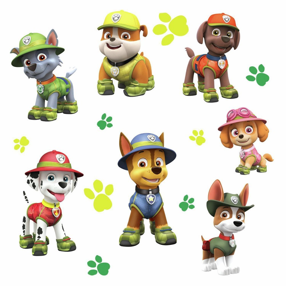 RoomMates Paw Patrol Jungle Peel and Stick Giant Wall Decals Single Sheet, Multi-Colored