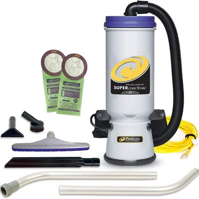 ProTeam 107109 CoachVac 10 Quart Multifunctional Backpack Vacuum with 2 Piece Wand Tool Kit, Various Attachments, and 50 Foot Extension Cord
