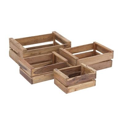 "13""x16""x19""x22"" Set of 4 Rectangular Farmhouse Wood Storage Crates - Olivia & May"
