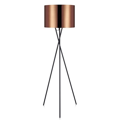"62"" Cara Tripod Floor Lamp with Copper Shade - Versanora"
