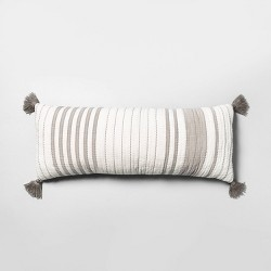 Oversized Striped Lumbar Throw Pillow Gray / Sour Cream - Hearth & Hand™ with Magnolia