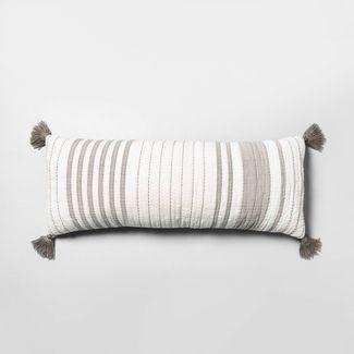 Oversized Striped Lumbar Throw Pillow Gray/Cream - Hearth & Hand™ with Magnolia