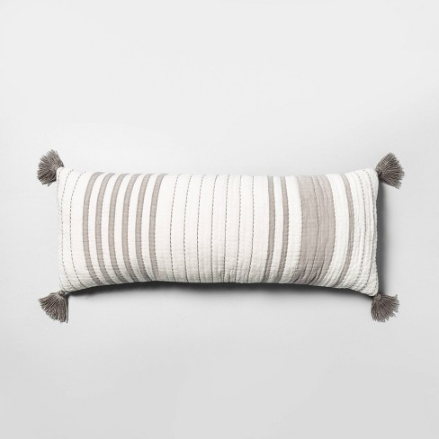 Oversized Striped Lumbar Throw Pillow Gray / Sour Cream - Hearth & Hand™ with Magnolia - image 1 of 3