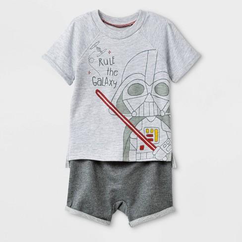 6db272228 Baby Boys  2pc Star Wars Darth Vader T-Shirt And Shorts Set - Gray ...