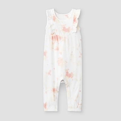 Grayson Mini Baby Girls' Tie-Dye Ruffle Shoulder Romper - Pink Newborn