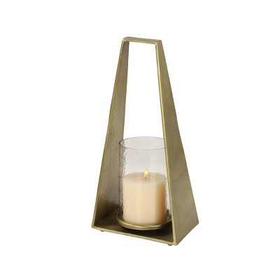 "17"" x 8"" Modern Hurricane Glass/Metal Candle Holder Gold - Olivia & May"