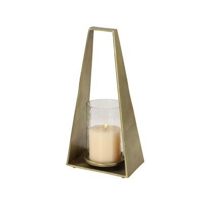 "17"" x 8"" Modern Hurricane Glass/Metal Candle Holder Gold - Olivia & May"